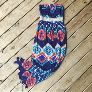 🌙 Boho Tribal Print Strapless Maxi Dress